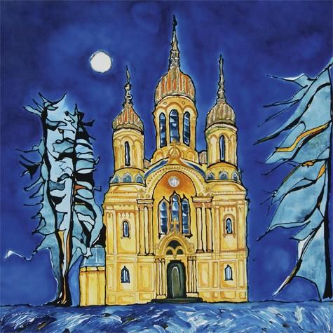 """""""Wiesbaden Russische Kirche"""" - Canvas Print Keilrahmen - Anette Seyer-Klein"""