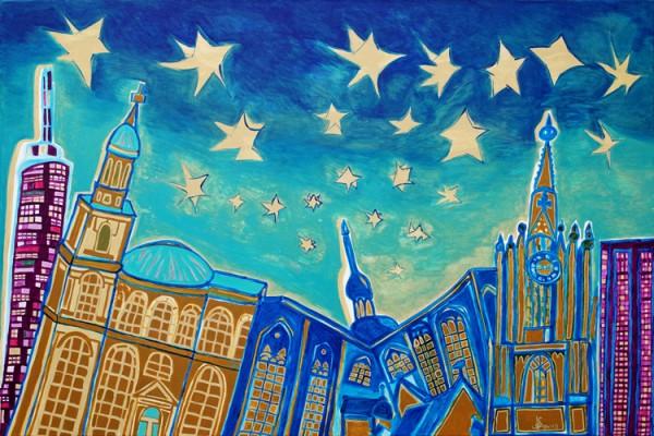"""Stars at Night"" - Acryl - Mischtechnik - Anette Seyer-Klein"