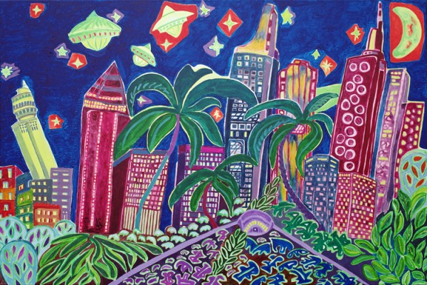"""Skyline Tropical Night"" - Acryl - Mischtechnik - Anette Seyer-Klein / Rene Bulin"