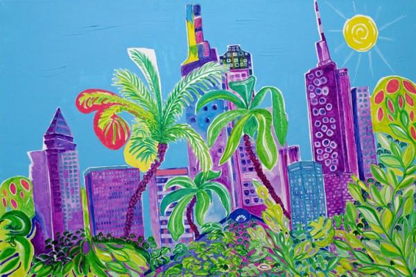 """ Skyline Tropical Feeling"" - Acryl - Mischtechnik - Anette Seyer-Klein / Rene Bulin"