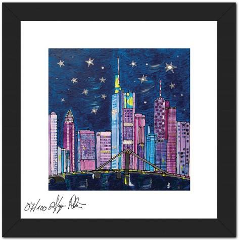 """Mini Sammler Kollektion Hessen - Anette Seyer-Klein - Motiv """"Blue Frankfurt Skyline"""""""