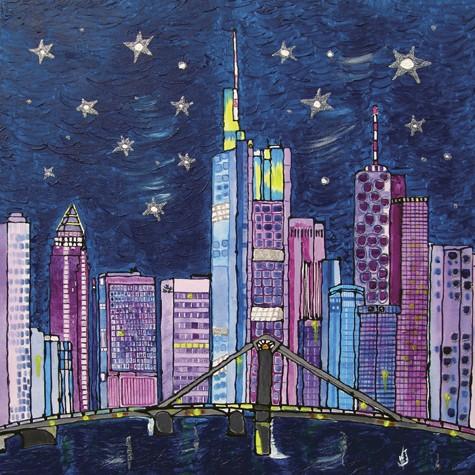 """Blue Frankfurt Skyline"" - Canvas Print Keilrahmen - Anette Seyer-Klein"